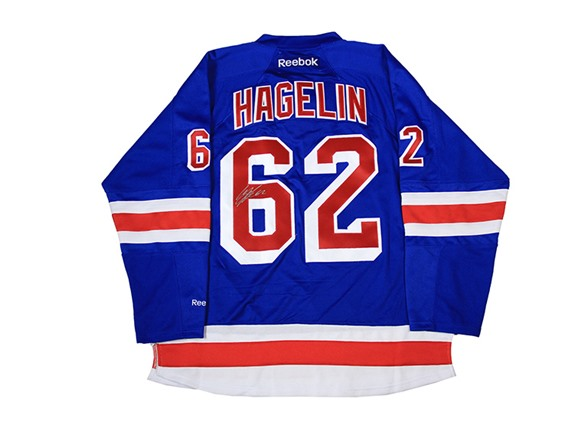 save off c7c4e f7f4d Carl Hagelin Signed Rangers Blue Jersey