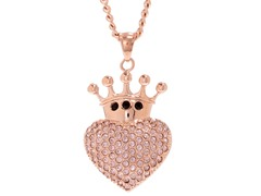 14k Rose Gold Plated Crowned Heart