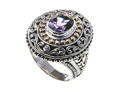 18kt Gold Accent & Silver Amethyst Ring