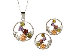 18k White Gold Plated Round Multi Set
