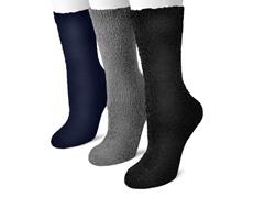3 Pair Pack Crew Aloe Socks, Black, Charcoal & Navy
