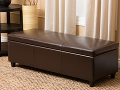 Ines Leather Storage Ottoman
