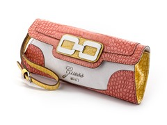 Guess Mikelle Mini Clutch Handbag, Coral Multi