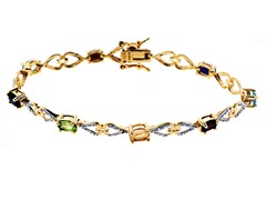 18K Gold-Plated SS Oval Multicolor Genuine Stone Heart Diamond Accent Tennis Bracelet