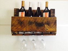 4 Bottle Walnut Reclaimed Wooden Wine Rack