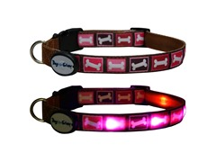 Dog-e-Glow Pink Bones LED Lighted Collar - Medium