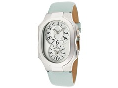 Women's Dual Time Light Blue Leather Watch