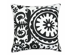 Suzani Black & White 17x17 Pillow