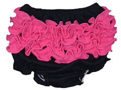 Ruffled Bloomer - Black/Fuschia