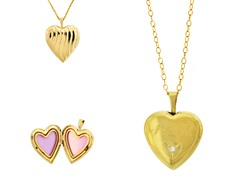 10kt Gold Reversible 'I Love You' Heart Locket w/ Diamond
