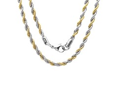 Stainless Steel 18kt Two-Tone Rope Chain
