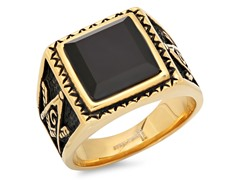 18k Plated Simulated Onyx Accent Ring