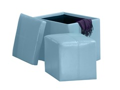 Faux Leather Cube Storage Ottoman - Blue