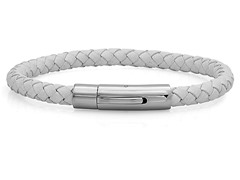 Men's Leather & Steel Bracelet, White