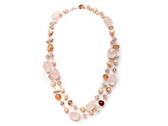 SS Pink Quartz Gemstone & Pearl Necklace