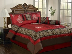 Nikita 7pc Comforter Set - Burgundy - 2 Sizes