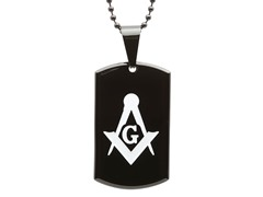 Two-Tone Masonic Pendant w/ Black IP