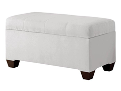 Upholstered Storage Bench - White