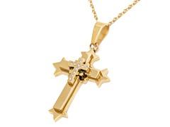 2-Tone 18k Gold Plated Cross Pendant