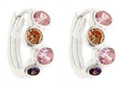 Sterling Silver Multi Color Simulated Diamond Huggies