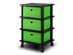 3 Bins System Rack w/Caster Green